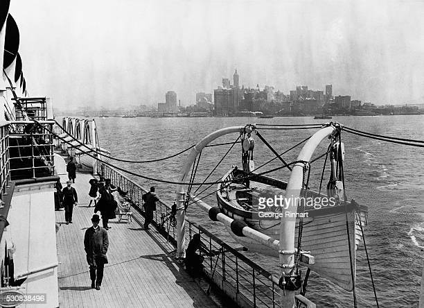 Picture shows the Lusitania leaving New York on one of her early trips