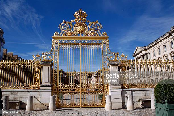 A picture shows the main facade and golden doors of the chateau de Versailles on October 30 2015 in Versailles France The world premiere of the...