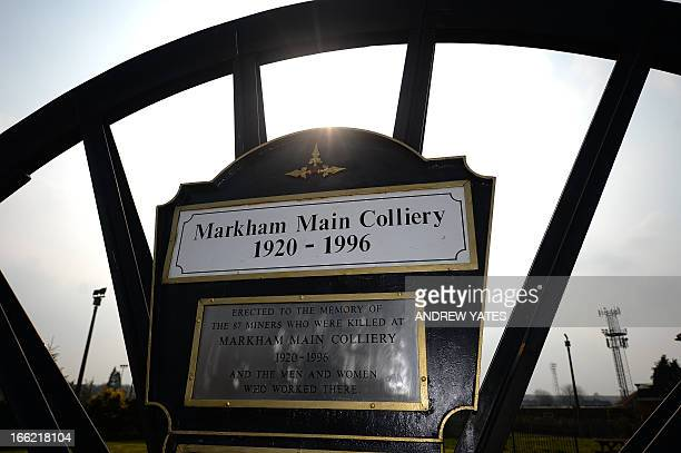 A picture shows the Markham Main Colliery remembrance garden in Armthorpe Doncaster northern England on April 9 2013 Armthorpe was effected by then...
