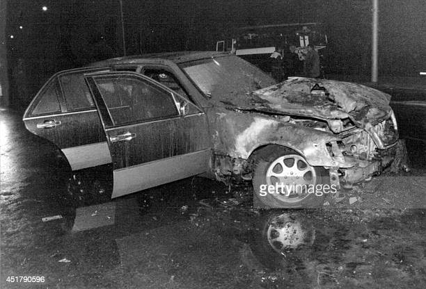 Picture shows the Mercedez500 car of Georgian President Eduard Shevardnadze who survived a dramatic assassinatin attempt in the center of the...