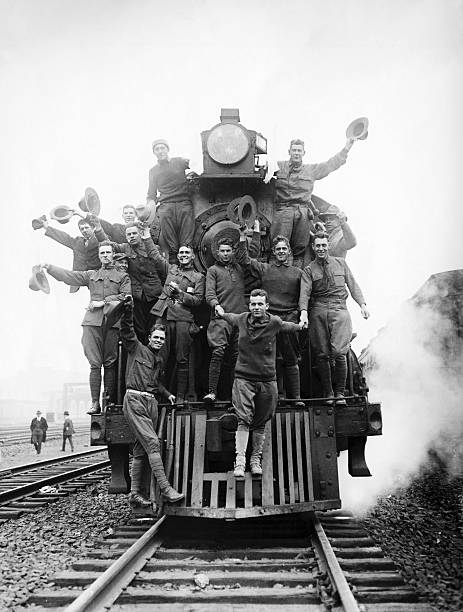 American Soldiers Riding on the Front of a Train