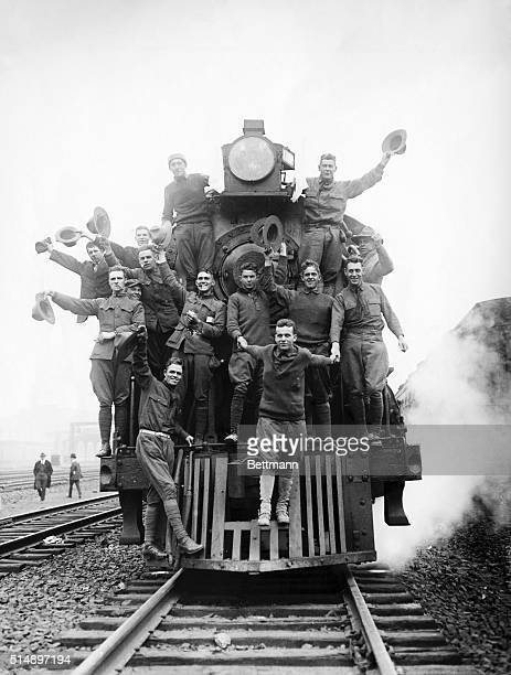 Picture shows the Mexican Expedition of 1916 US soldiers riding on the cowcatcher of an American locomotive