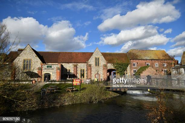 A picture shows The Mill pub close to The Maltings shopping centre in Salisbury southern England on March 8 2018 which was closed in connection to...