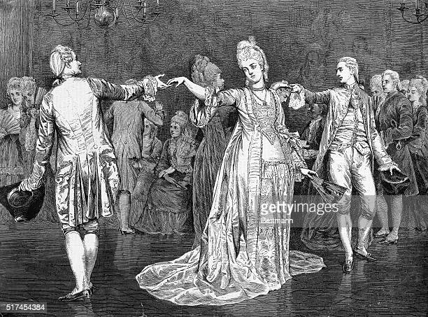 Picture shows the minuet, a painting in the Royal Academy of 1875, By Val. C. Princep. Undated engraving.