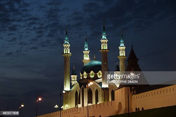 A picture shows the mosque Qol Sharif in the Kremlin at night during the 2015 FINA World Championships in Kazan on July 29 2015 AFP PHOTO /...
