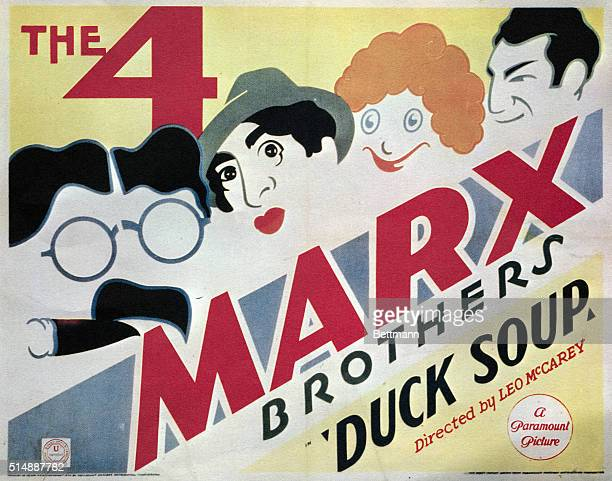 "Picture shows the movie poster from the Marx Brothers movie, ""Duck Soup."" Directed by Leo McCarey. Undated photo circa 1933. BPA2# 5789."