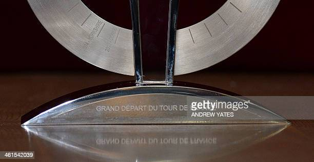 A picture shows the names of the two hosts of the Tour de France Grand Depart on the Grance Depart Trophy Yorkshire and Corse as the trophy is...