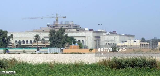 A picture shows the new US embassy complex still under construction in the heavily fortified Green Zone on the west bank of the Tigris River in...