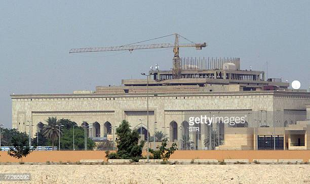 Picture shows the new US embassy complex, still under construction, in the heavily fortified Green Zone, on the west bank of the Tigris River in...