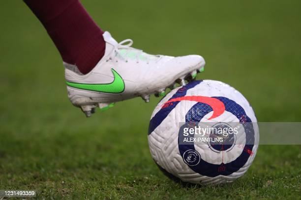 Picture shows the Nike Flight Premier League ball during the warm up before the English Premier League football match between Burnley and Leicester...