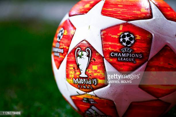 TOPSHOT A picture shows the official match ball during the UEFA Champions League round of 16 first leg football match between Club Atletico de Madrid...