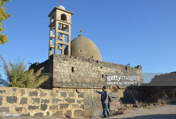 Picture shows the old church of Sayyidet al-Beshara in Shaqra town in the southern Syrian province of Daraa on December 22, 2019. - Less than 10...