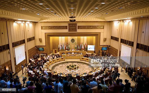 A picture shows the opening session of the regular meetings of Arab foreign ministers at the Arab League's headquarters in Cairo on September 8 2016...