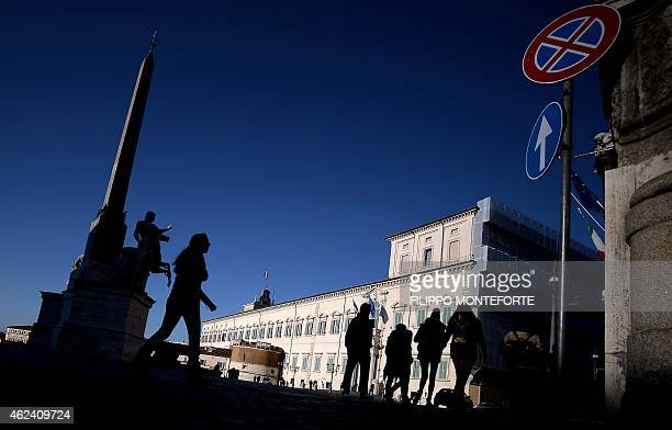 A picture shows the Palazzo del Quirinale the Italian presidential palace on January 28 2015 in Rome Parliamentarians and regional officials will...