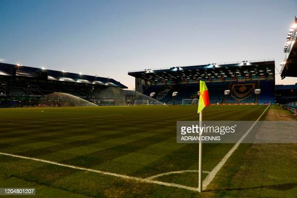 A picture shows the pitch and stands ahead of the English FA Cup fifth round football match between Portsmouth and Arsenal at Fratton Park stadium in...