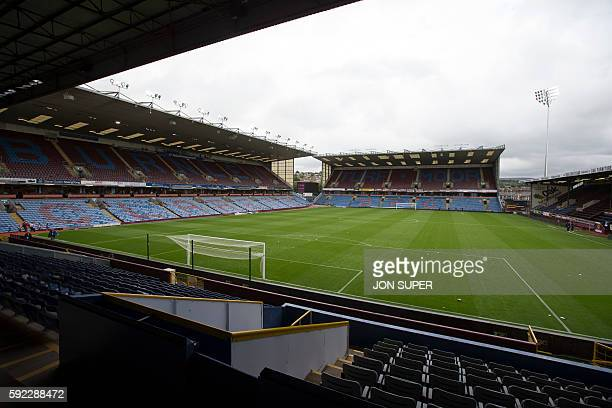 Picture shows the pitch and stands inside Burnley's Turf Moor stadium before the English Premier League football match between Burnley and Liverpool...