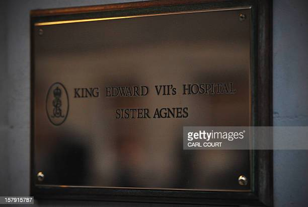 A picture shows the plaque outside the King Edward VII hospital in central London on December 7 2012 after nurse Jacintha Saldanha was found dead at...