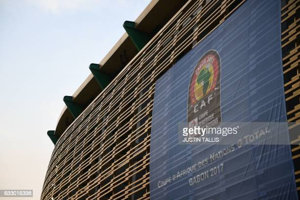 A picture shows the PortGentil Stadium ahead of the 2017 Africa Cup of Nations quarterfinal football match between Egypt and Morocco in PortGentil on...