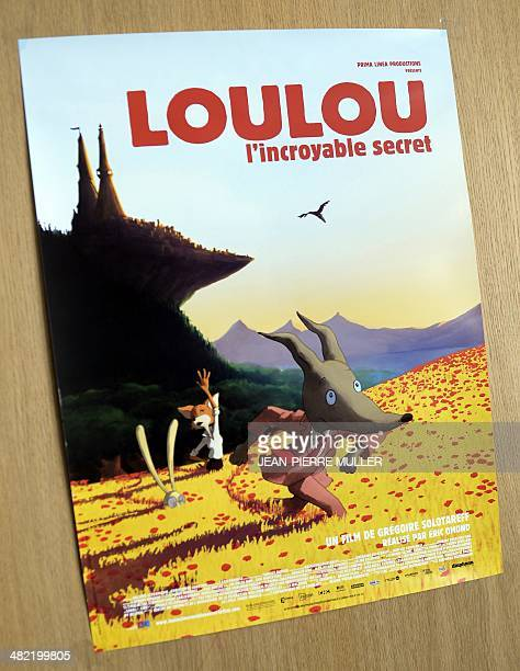 A picture shows the poster of the animation film 'Loulou et l'incroyable secret' in the 'Prima Linea' studio in Angouleme central France on March 17...