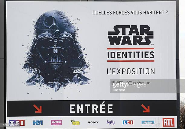 A picture shows the poster of the exhibition Star Wars Identities at the Cite du Cinema on February 13 in SaintDenis outside Paris The exhibition...