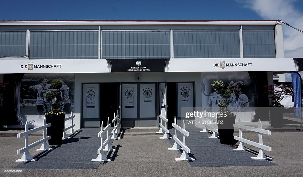 A picture shows the press centre of Germany's team at their training grounds in Evian-les-Bains, central-eastern France, on June 7, 2016, three days ahead of the Euro 2016 football tournament. / AFP / PATRIK