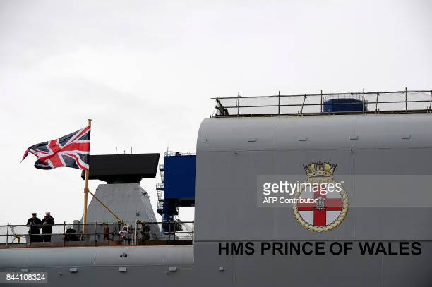 A picture shows the QE Class aircraft carrier HMS Prince of Wales the second of the Royal Navys two future flagships being built by the Aircraft...
