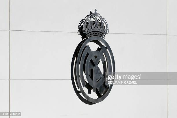 A picture shows the Real Madrid logo at the Spanish club's training facilities of Valdebebas in Madrid on March 20 2019