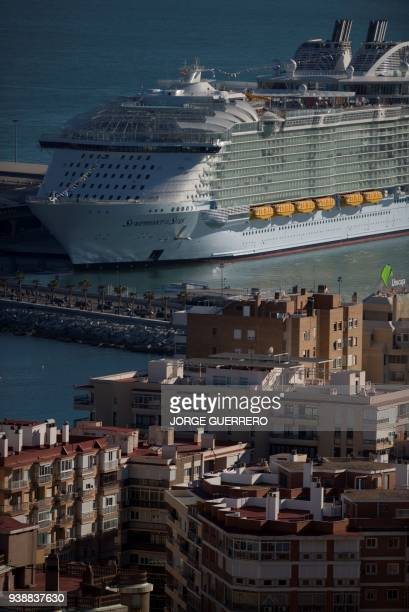 A picture shows the Royal Caribbean's Symphony of the Seas during its presentation in Malaga on March 27 2018 The ship which weighs 228000 tonnes is...