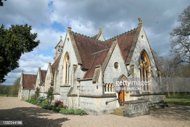 "Picture shows the Royal Chapel of All Saints, at Royal Lodge, in Windsor on April 11, 2021. - Queen Elizabeth II has described feeling a ""huge void..."