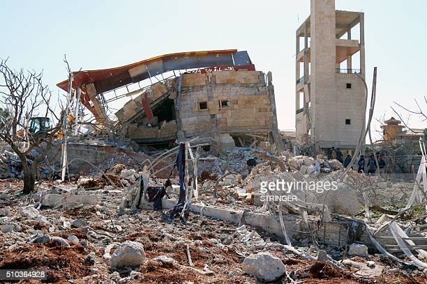 A picture shows the rubble of a hospital supported by Doctors Without Borders near Maaret alNuman in Syria's northern province of Idlib on February...