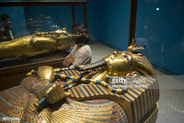 Picture shows the sarcophagus of the Pharaoh Tutankhamun at Cairo's Egyptian Museum on November 28, 2017. The Egyptian museum celebrates its 115th...