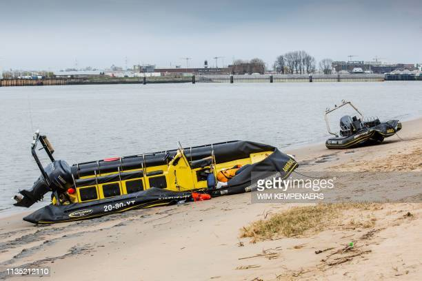Picture shows the scene in the city center of Antwerp, where two zodiac speed boats crashed into each other on the Scheldt river, on April 5, 2019. -...