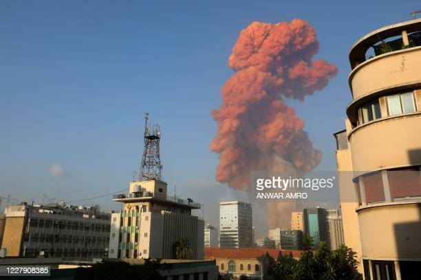 Picture shows the scene of an explosion in Beirut on August 4, 2020. - A large explosion rocked the Lebanese capital Beirut on August 4, an AFP...