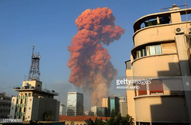 TOPSHOT A picture shows the scene of an explosion in Beirut on August 4 2020 A large explosion rocked the Lebanese capital Beirut on August 4 an AFP...