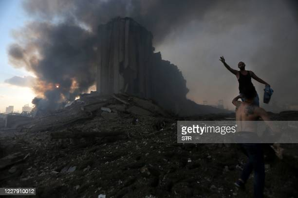 Picture shows the scene of an explosion in Beirut on August 4, 2020. - Two huge explosion rocked the Lebanese capital Beirut, wounding dozens of...
