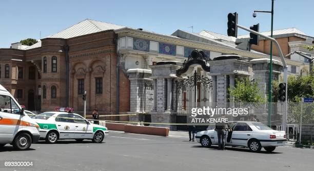 A picture shows the scene outside the Iranian parliament in the capital Tehran on June 7 2017 during an attack on the complex Gunmen and suicide...