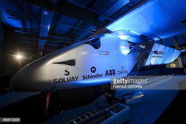 A picture shows the second Solar Impulse experimental solarpowered plane the HBSIB during its presentation on April 9 2013 in Payerne aimed at being...