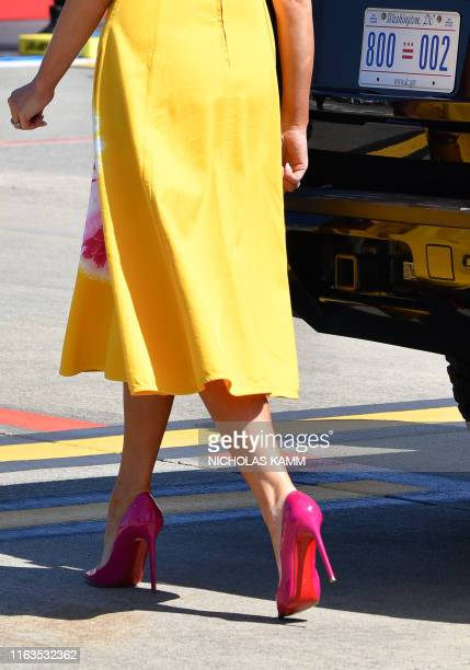 A picture shows the shoes of US First Lady Melania Trump as she walks upon landing at the Biarritz Pays Basque Airport in Biarritz southwest France...
