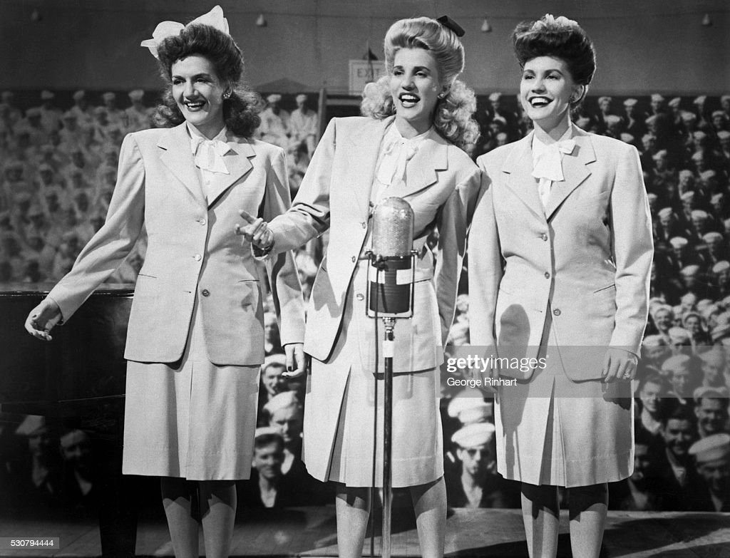 1944 picture shows the singing group the andrews sisters at the