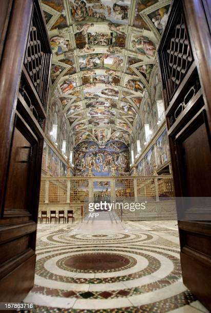 Picture shows the Sistine Chapel with Michelangelo's fresco The Last Judgment at the Vatican 16 April 2005 Cardinals start their conclave in the...