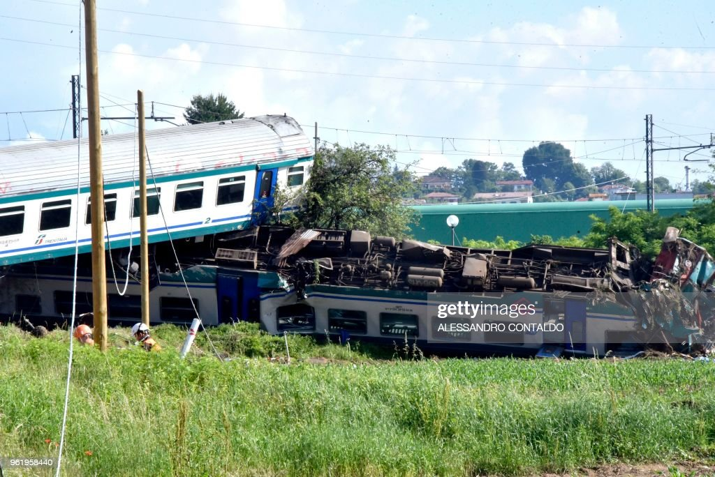 A picture shows the site of a crash after a regional train plowed