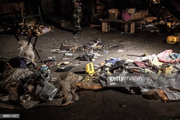 A picture shows the site of a grenade explosion in Antananarivo's Anosy district on January 25 which occured just hours after the island's newly...