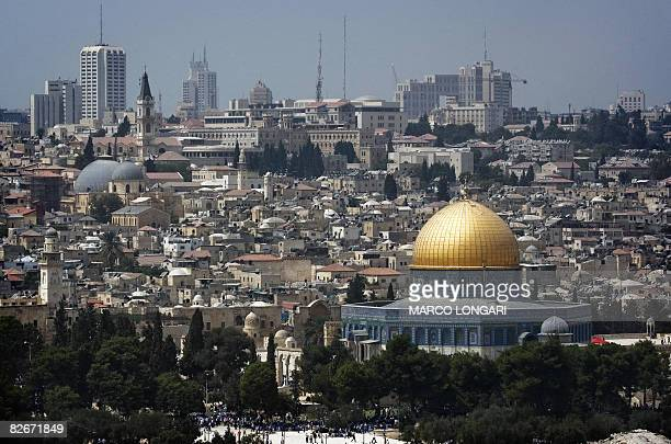 A picture shows the skyline of Jerusalem with the Dome of the Rock mosque at the AlAqsa mosque compound in the citys old city where thousands of...