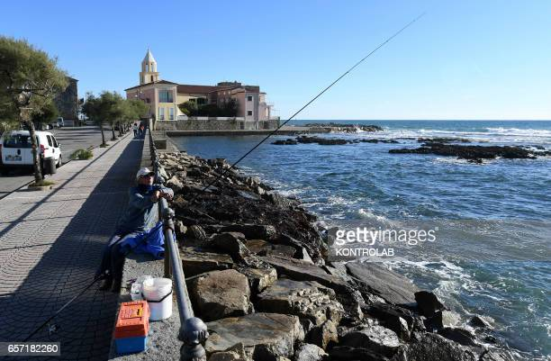 A picture shows the small harbor of Acciaroli southern Italy Situated on the western coast of southern Italy the town of Acciaroli has a...