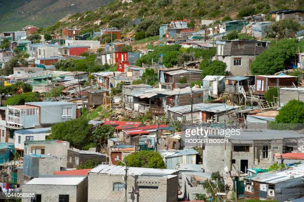 A picture shows the South African fishing town of Hangberg in Hout Bay shortly after fisherman Durick van Blerk went missing on August 22 2018 One...