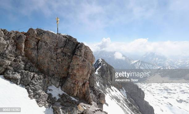 Picture shows the tourist platform and building on top of Germany's highest mountain Zugspitze on May 7 2018 near GarmischPartenkirchen Germany