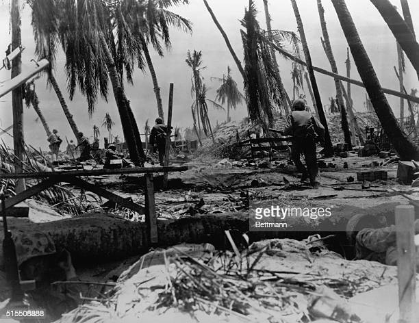 Picture shows The Tarawa Airport under seige during W0rld War II BPA
