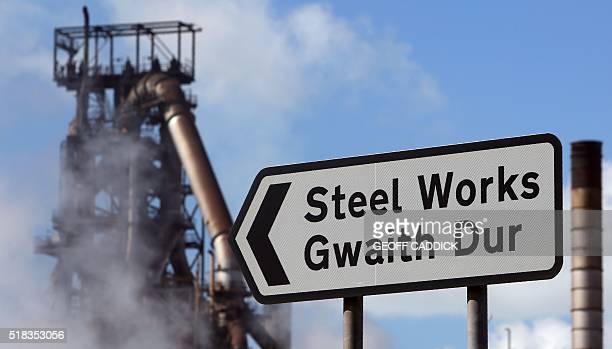 A picture shows the Tata Steel steel plant at Port Talbot south Wales on March 31 2016 Britain is doing everything it can to help the country's...