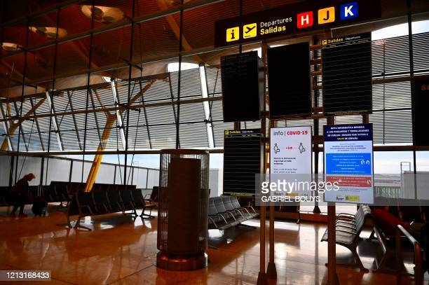 Picture shows the terminal 4 of the MadridBarajas Adolfo Suarez airport in Barajas on May 16 2020 Spain began yesterday to beef up screening of...