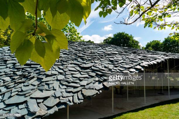A picture shows the the newly installed 2019 Serpentine Pavilion designed by Japanese architect Junya Ishigami at the Serpentine Galleries in London...